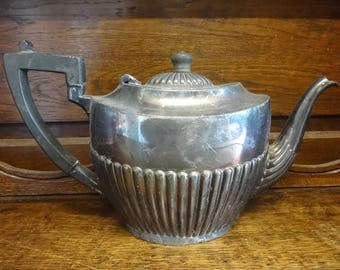 Antique English silver plated old dented repaired teapot heavy tarnish patina circa 1910's / English Shop