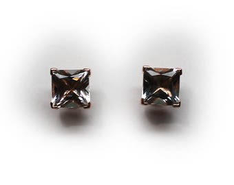 Sterling Silver Rose Gold Finish 8 MM Square Cut CZ Stud Earrings