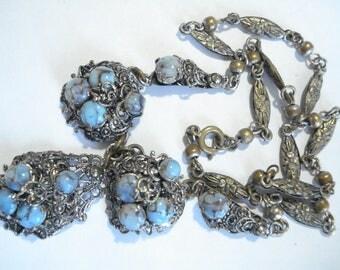 Art Deco Czech Necklace Faux Turquoise Glass Rhinestones 1920's 1930's