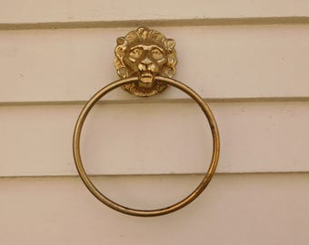 Vintage Small Brass Lion Head Towel Ring, Towel Hook