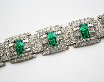 Vintage Wide Art Deco Green Rhinestone Link Bracelet, Wide Pave Bracelet, Art Deco Bracelet