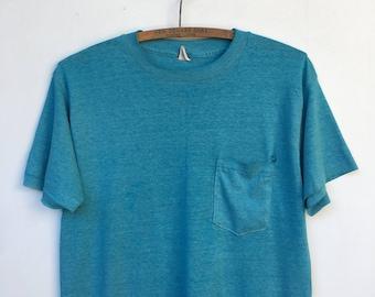 Vintage 70s DISTRESSED One Pocket Teal T Shirt M