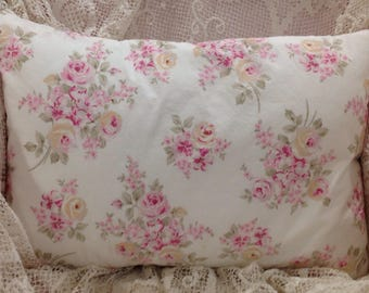 Shabby Chic Pillow COVER pink and white rose bouquets cotton poplin