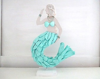 Nautical Turquoise Driftwood Mermaid, Shells, Beads, Standing