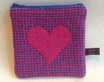 Harris Tweed coin purse, heart purse, zipped coin pouch, change purse, scottish gift, Mother's Day, celtic weave harris tweed