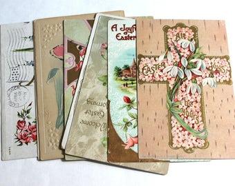 8 Antique  Easter Pink Flowers Postcards - Vintage Easter Crafts, Scrapbooking, Holiday Decor