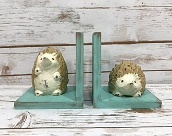 Hedgehog Bookends//Available in a Variety of Colors//Hedgehog Figurine//Gifts For Her//Gifts Under 25//Handmade in the USA//Farmhouse