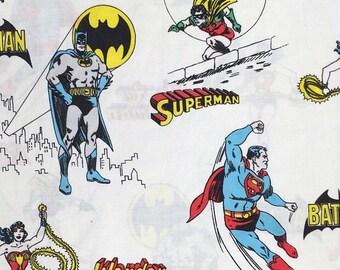 Vintage Super Hero Pillow Case Batman Superman Wonder Woman Standard Size