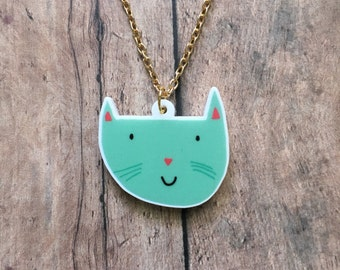 Adorable green kitty necklace