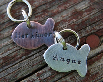 Custom Cat ID Tag-LIttle Fish Cat Tag-Tag for Kitty-Hand stamped Cat Tag
