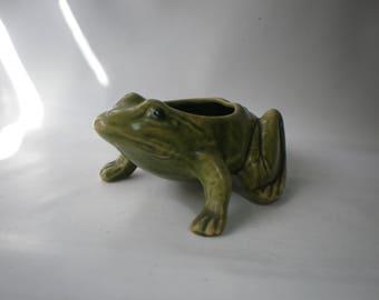 Vintage Green Frog Planter