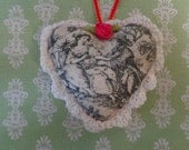Lovers Toile Fabric Heart Ornament by Pepperland