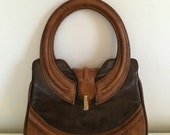 Lou Taylor 1960's Handbag Brown Purse Multi-Compartment