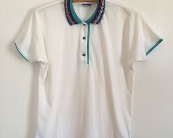 90's tennis polo sportswear rad collar detailing tail - size small