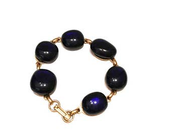 Vintage Cobalt Blue Glass Cabochon Bracelet