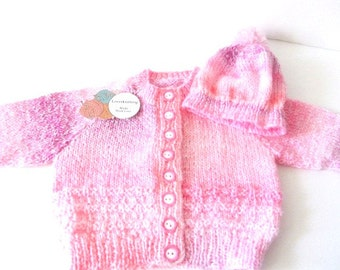 Hand knit sweater and hat, toddler knit sweater, girls sweater and hat, pink hat and jacket, knit pink sweater, girls knit sweater.