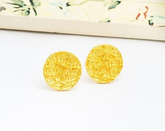 1 Pair of 925 Sterling Silver 24k Gold Vermeil Style Textured Circle Stud Earrings 11mm.  :vm0977