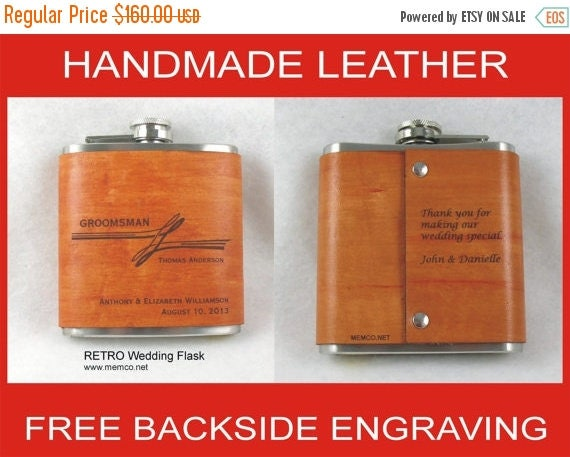 ON SALE Set of 8 Groomsmen Gifts - Handmade Leather Flasks  Personalized Flask with FREE Backside Engraving
