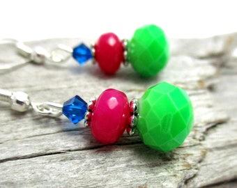 Multi-coloured Crystal Earrings - Swarovski Crystal Drop Earrings - Lime Green Crystal Drop Earrings - Earrings for Sensitive Ears