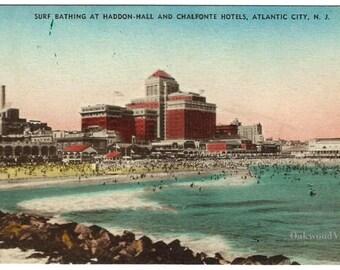 Atlantic City NJ Haddon-Hall & Chalfonte Hotels Postcard, Beach, Antique Hand-Colored New Jersey Ephemera c1920, FREE SHIPPING
