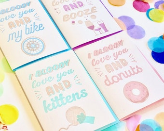 Valentines day card, donuts, alcohol, kittens, cycling, all 4 cards, love card, pink doughnut, confetti, letterpress, fun happy all occasion