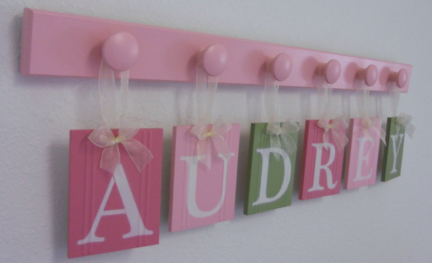 wall name letters nursery blocks pink green by nelsonsgifts. Black Bedroom Furniture Sets. Home Design Ideas