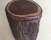 Handcrafted 6 Piece Carob Wood Log Puzzle Box with secret inner compartment