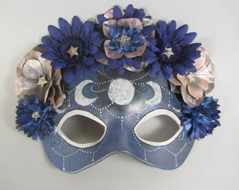 Celestial Flower Crown in Silver and Blue, Leather Masquerade Mask, OOAK