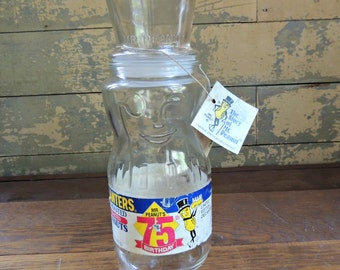 Planter's Peanuts 75th Birthday Jar 1991 / Planter's Limited Edition Decanter / Peanut Jar Container / Collectible Advertising Jar