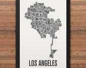 Los Angeles Neighborhood Typography City Map Print