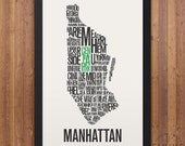MANHATTAN New York Neighborhood Typography City Map Print