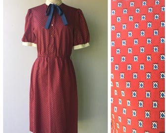 1980s Vintage Collar TIE Red Paisley Dress // Size Med - Lg