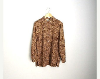 MLK - 20% off SALE - Vintage 80s Brown and Gold Dotted SILK oversized Slouchy Blouse Shirt // womens medium-large