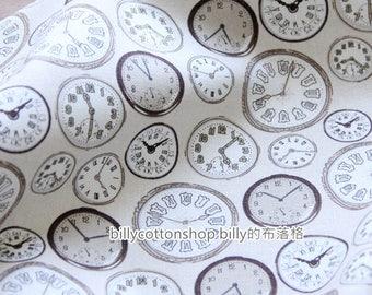 m160_55 - clocks fabrics- cotton linen fabrics- Half Yard ( 3 color )