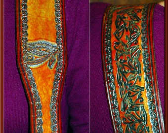 EYE OF HORUS Design • A Beautifully Hand Tooled, Hand Crafted Leather Guitar Strap
