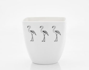 White Porcelain Cup Decorated with Flamingos, Funny Kids Mug