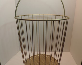 Gold Metal Basket Umbrella Stand MCM Punched Metal Wire Basket Storage Basket Vintage Storage Tall Basket Gold Metal Handled Basket