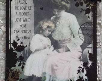 Mother's Day Victor Hugo Oh, The Love Of Mother, Love Which None Can Forget Quotation Decoupage Decorative Wall Hanging Plaque