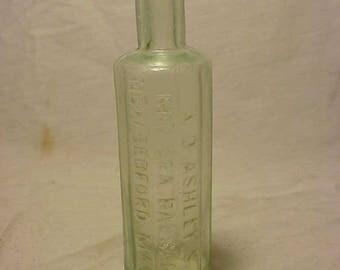 c1880 A. D. Ashley's Red Sea Balsam New Bedford, Mass. , Aqua Blown Glass Medicine bottle