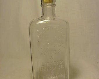 c1890s J. L. Alther & Co. Wines Liquors Boston, Mass., Half Pint Clear Cork Top Whiskey Bottle Flask