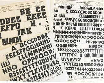 PLAZA ULTRA, Cable Bold and Aachen Bold Vintage Letraset Instant Lettering Rub Off Alphabet Sheets