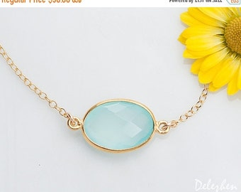 40 OFF - Aqua Blue Chalcedony necklace - Gemstone connector - Gold Necklace - Layering Necklace