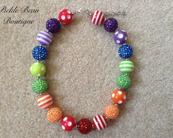 Rainbow Bubblegum Necklace, Bubble Gum Necklaces, Kids Chunky Baby Necklace, Girls Necklace, Girl Bubble Gum Necklace, Rainbow Birthday