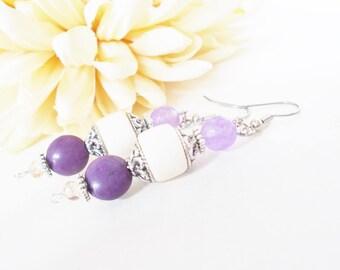 White Wood Earrings, Boho Jewelry, Bohemian Earrings, Sterling Silver, Purple Stone Earrings, Wood Beaded Earrings, Birthday Gift for Her