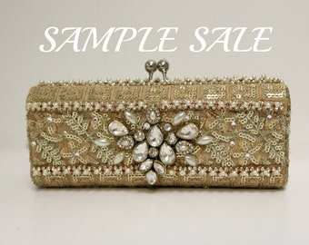Vivienne Gold Clutch Bag.  Sample Sale .  Gold, Pearl and Crystal Clutch Bag . Evening Bag . Bridal Clutch . Sample Sale