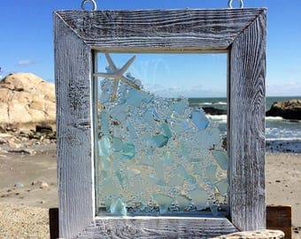 Soft pale blue beach glass with star fish accent