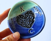 """MADE TO ORDER.... 3 1/2"""" Personalized Ring Dish in Green and Blue, Ceramic, Handmade Pottery, by RiverStone Pottery"""
