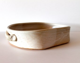 Pottery Bakeware, Stoneware Casserole, handmade wheel-thrown ceramic, White