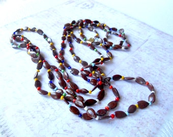 Johnny Apple Seed Vintage Necklace, Long Necklace, Apple Seed Necklace, Made in Taiwan Republic of China