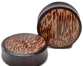 "On Sale Ebony Wood Plugs with Palm Wood Inlay 2g, 0g, 00g, 7/16"", 1/2"", 9/16"", 5/8"", 3/4"", 7/8, 1"""